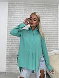 Рубашка женская стильная белая голубая бирюза, фото 7