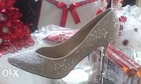 Свадебные туфли айвори,стразы