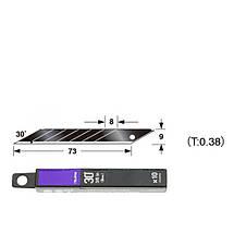 Лезвия сегментные Premium 9мм TAJIMA Acute Angle Razar Black Blades CB39RB угол наклона 30°,10 шт (CB39RBH/K1), фото 2