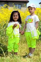 Детские костюм летний тройка Найк неон