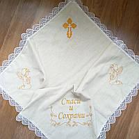 Льняная крыжма для крещения ребёнка. Бежевая., фото 1
