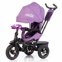 Трехколесный велосипед Tilly Cayman с пультом и усиленной рамой T-381-2, фиолетовый ткань лен - 156063