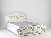 Кровать Неман Альба Белый супермат+ патина золото