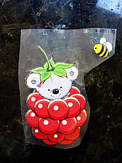 Термо наклейка, трансфер, наклейка на одежду Мишка малинка 8,5х5 см, фото 3