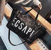 Большая женская сумка Mei&Ge шопер с пайетками черная, фото 1