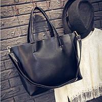 Велика жіноча сумка Mei&Ge шопер чорна, фото 1
