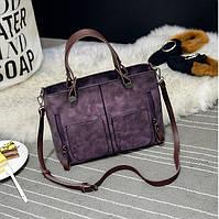 Женская сумка Mei&Ge с карманами фиолетовая, фото 1