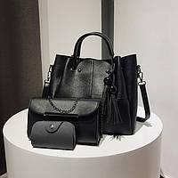 Набор сумок Mei&Ge 3в1: сумка, клатч, визитница черный