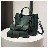 Набор сумок Mei&Ge 3в1: сумка, клатч, визитница зеленый