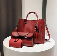 Набор сумок Mei&Ge 3в1: сумка, клатч, визитница красный