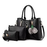 Набор сумок Mei&Ge 3в1 Modern: сумка, клатч, косметичка черный, фото 1