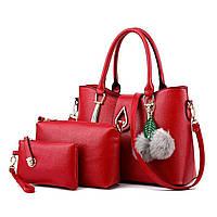 Набор сумок Mei&Ge 3в1 Modern: сумка, клатч, косметичка красный