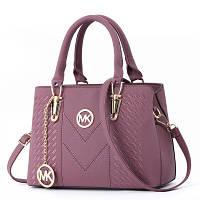 Большая женская сумка Mei&Ge с брелком MK лиловая, фото 1