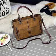 Женская сумка Mei&Ge с карманами рыжая, фото 1