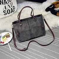 Женская сумка Mei&Ge с карманами серая, фото 1