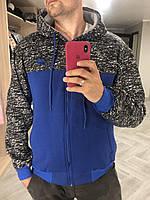 Кофта, толстовка мужская утепленная (на байке) на молнии высокого качества брендовая реплика NIKE