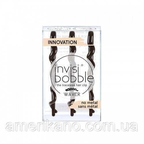 Заколка-невидимка для волос Invisibobble Wawer PLUS. Оригинал. В коричневом и прозрачном цвете.