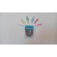 Скрепки канцелярские цветные 50 мм, 30 шт