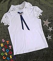Очень красивая детская школьная блузка с коротким рукавом 122 - 140