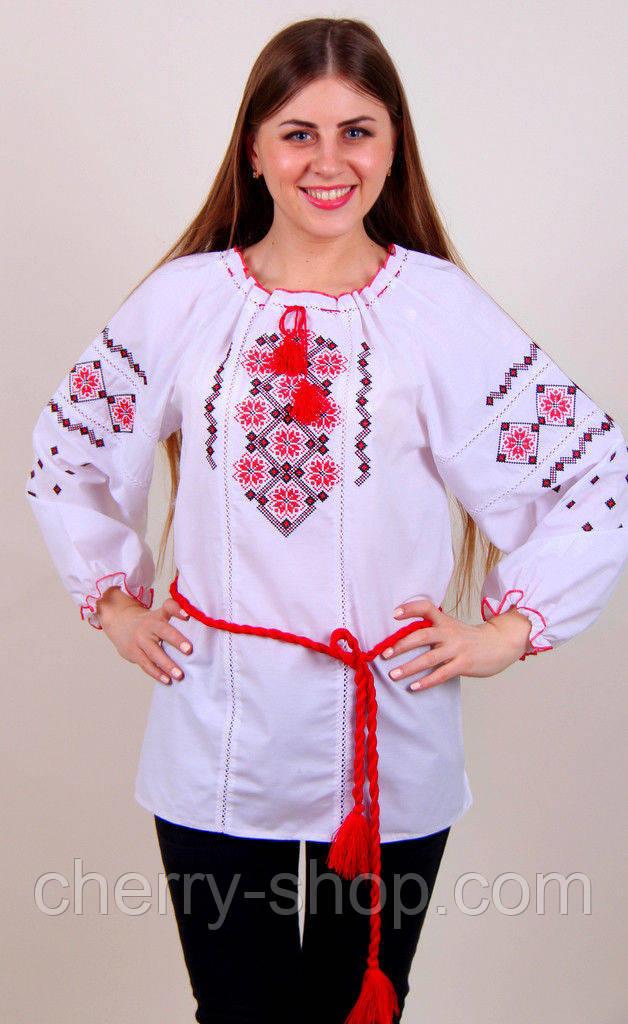 Рубашка-вышиванка  для девочки 10-15 лет прямого кроя