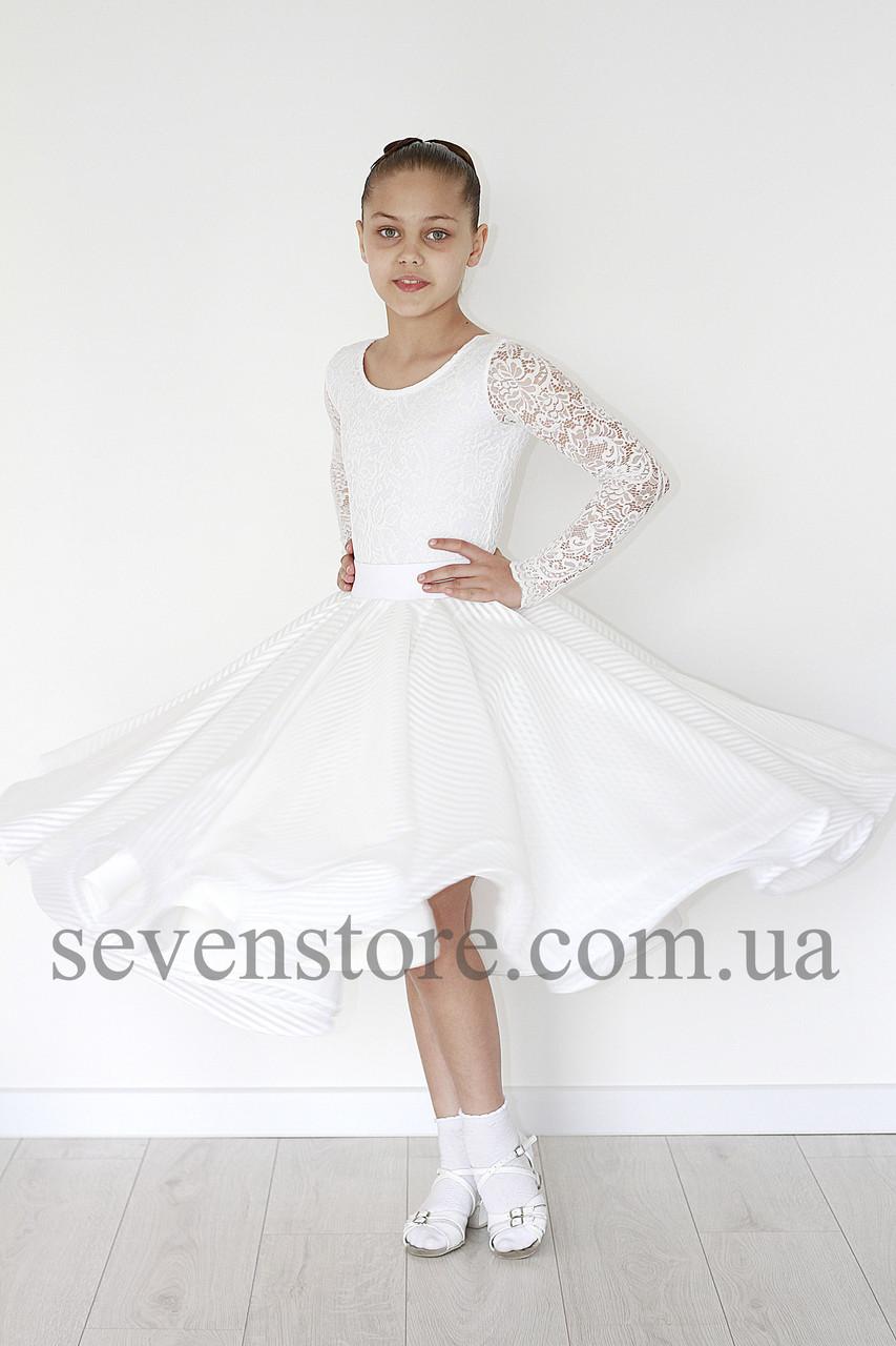 Рейтинговое платье для бальных танцев Стандарт Sevenstore 9145 Белое