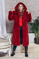 Шуба из эко меха 041 красная