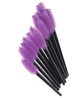 Щеточки для расчесывания ресниц фиолетовые с чёрной ручкой, 50 шт. в упаковке