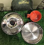 Набор посуды для кемпинга в чехле Golden Catch Small (кастрюля-котелок, крышка, сковородка и чашка)