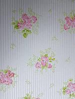 Обои виниловые на флизелине Petite Fleur 4 Rasch Texti 289182 цветы сирень на белом фоне с полосами серебром, фото 1