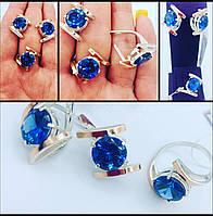 Набор женский серебряный серьги  кольцо с вставками золота
