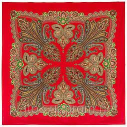 Царевна-лягушка 1447-5, павлопосадский платок шерстяной с просновками с подрубкой
