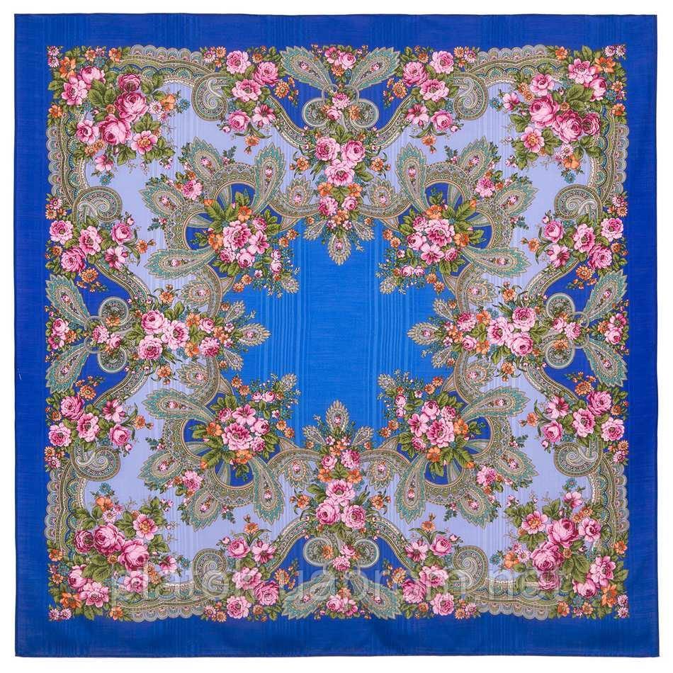 Серебро 1243-13, павлопосадский платок шерстяной с просновками с подрубкой