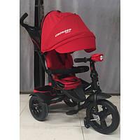 Детский трехколесный велосипед - коляска с поворотным сиденьем Azimut Crosser T400 NEO ECO AIR красный