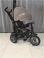 Детский трехколесный велосипед - коляска с поворотным сиденьем Azimut Crosser T400 NEO ECO AIR светло-серый