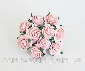 Роза бумажная персиково-розовая диаметр 2 см, бумажная роза персиковая 2 см Таиланд, цена за 1 шт