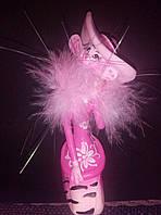 Эпатажная фарфоровая кошка с натуральным пухом, фото 1