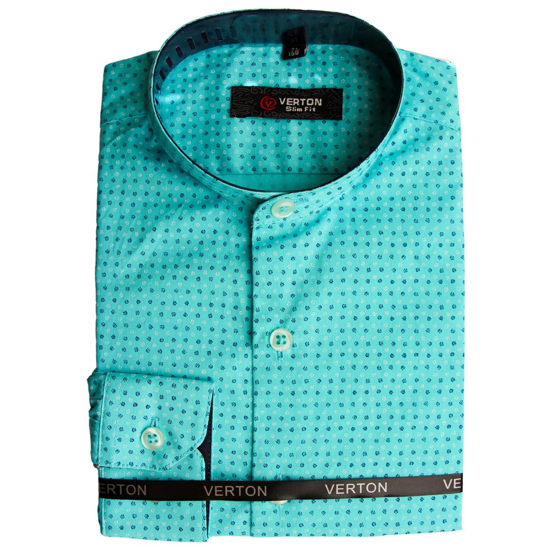 Бавовняна сорочка для хлопчика комір стійка рукав трансформер бірюзова