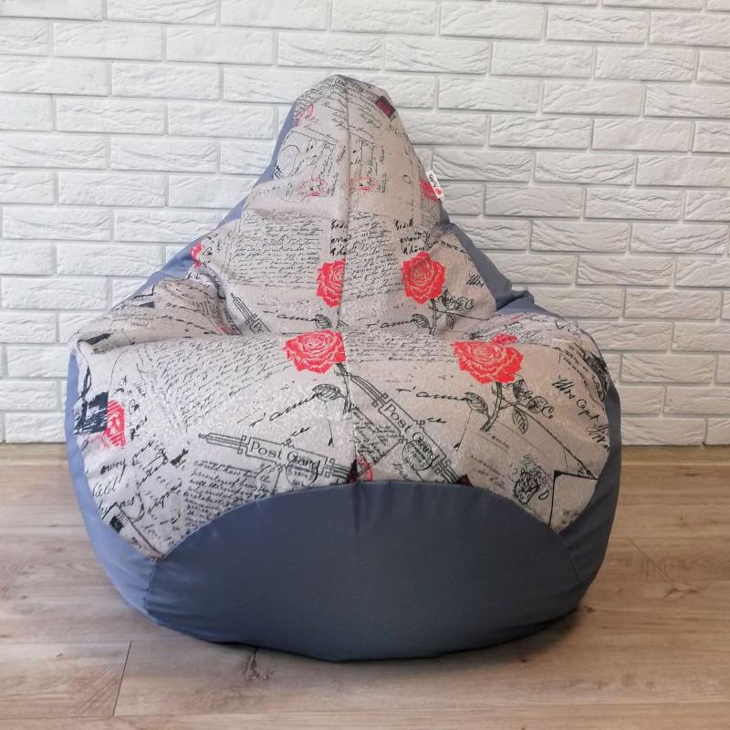 Кресло-груша KatyPuf Серое Принт OXFORD