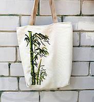 """Эко сумка """"Прохлада зеленого тростника"""" с вышивкой из бисера"""