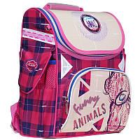 """Рюкзак школьный каркасный (ранец) для девочки Class """"Funny Animals"""" красно-бежевый Чехия 9920"""