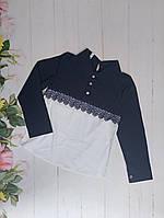 Блуза на девочку, длинный рукав, р. 128-152, белый+синий