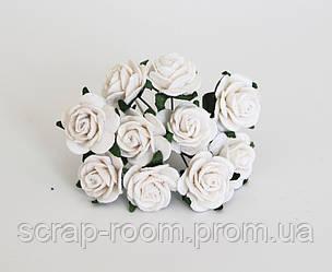 Роза белая Таиланд, бумажная белая роза диаметр 2 см, роза белая, роза белая 2 см Таиланд, цена за 1 шт