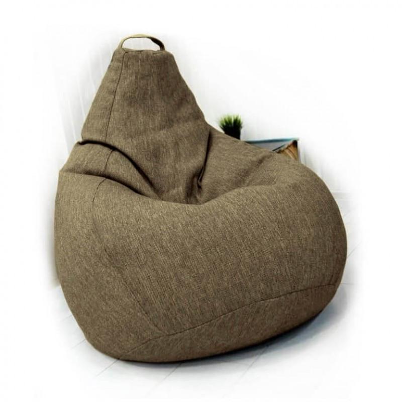 Кресло-груша KatyPuf темно-бежевое Рогожка