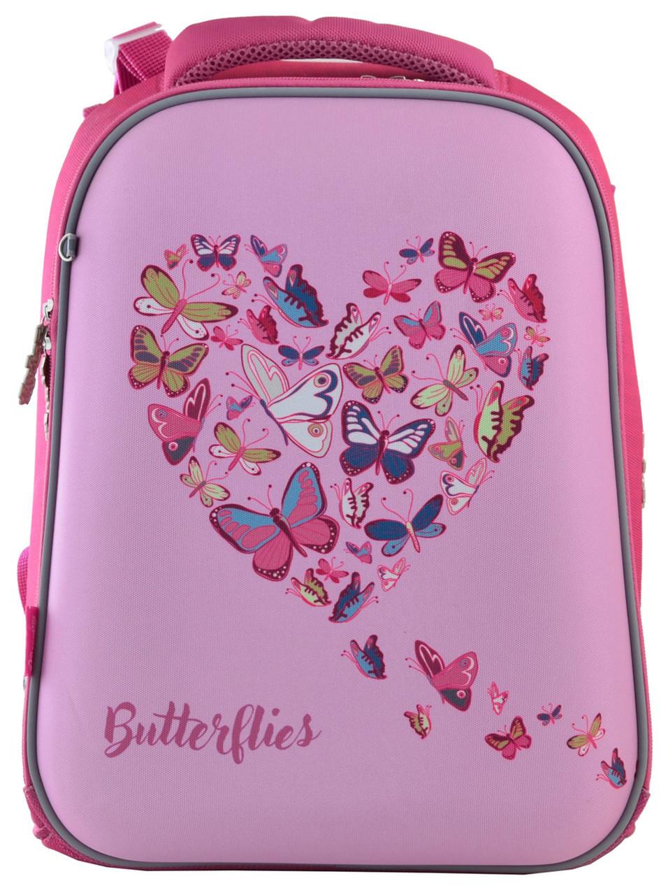 556040 Школьный каркасный рюкзак 1 Вересня H-12 Delicate butterflies 29*38*15