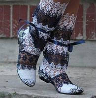 Сапожки женские кружевной гипюр летние. Подошва: черная и белая. Разные расцветки. Размеры: 36-42, код 4620О, фото 1