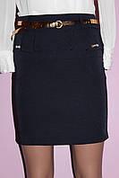 Юбка Складка с поясом синего цвета, фото 1