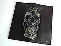 Кожаный мужской кошелек Skull Lux ручной работы черного цвета TsarArt с ручной росписью и ручным швом
