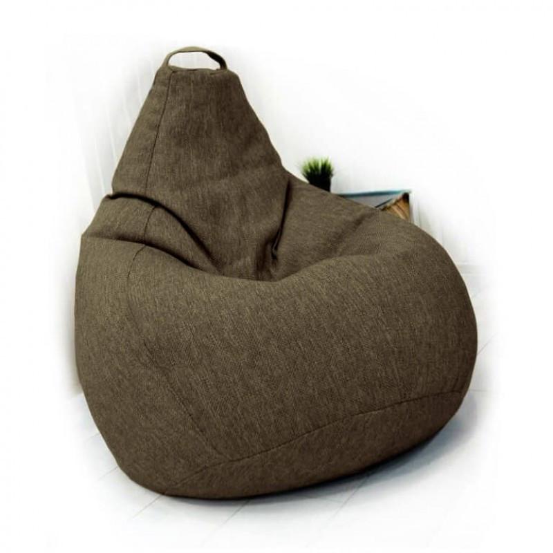 Кресло-груша KatyPuf коричневое Рогожка