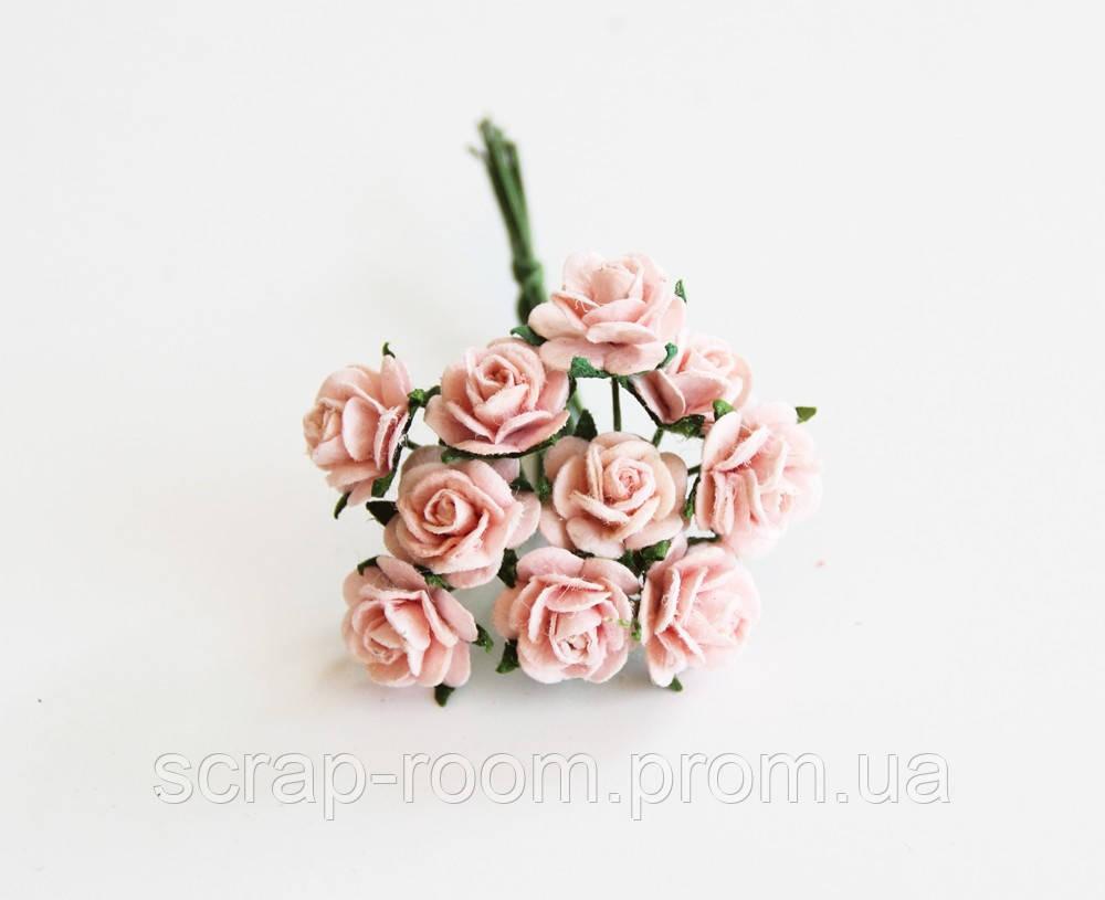 Роза мини персиково-розовая диаметр 1 см, роза персиково-розовая, бумажная розочка Таиланд, цена за 1 шт