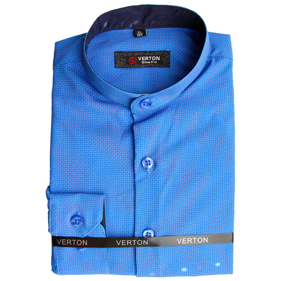 Синя сорочка для хлопчика з довгим рукавом трансформер комір стійка